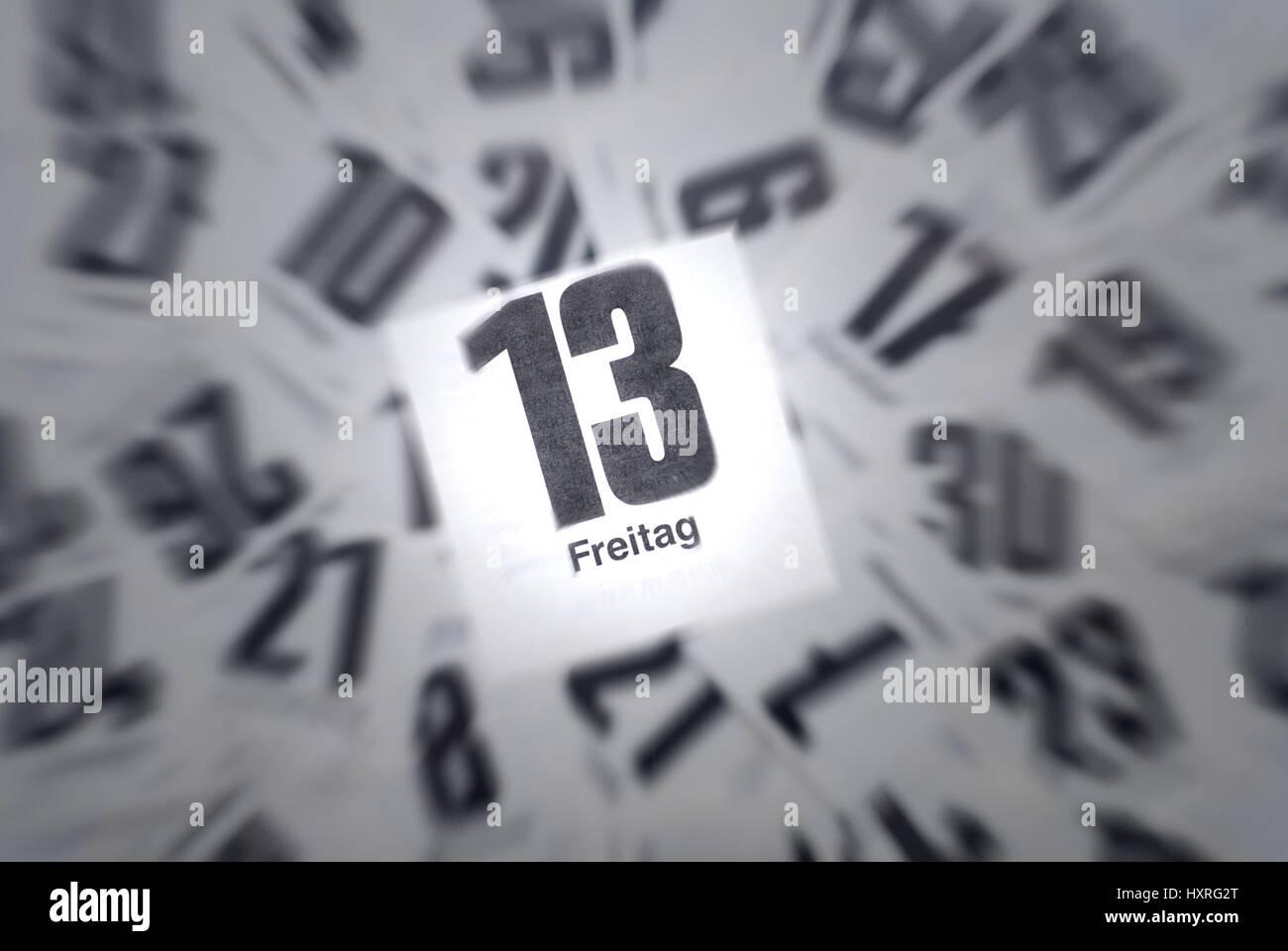 Aberglaube Unglück freitag 13 13 13 dreizehn kalender kalender blatt