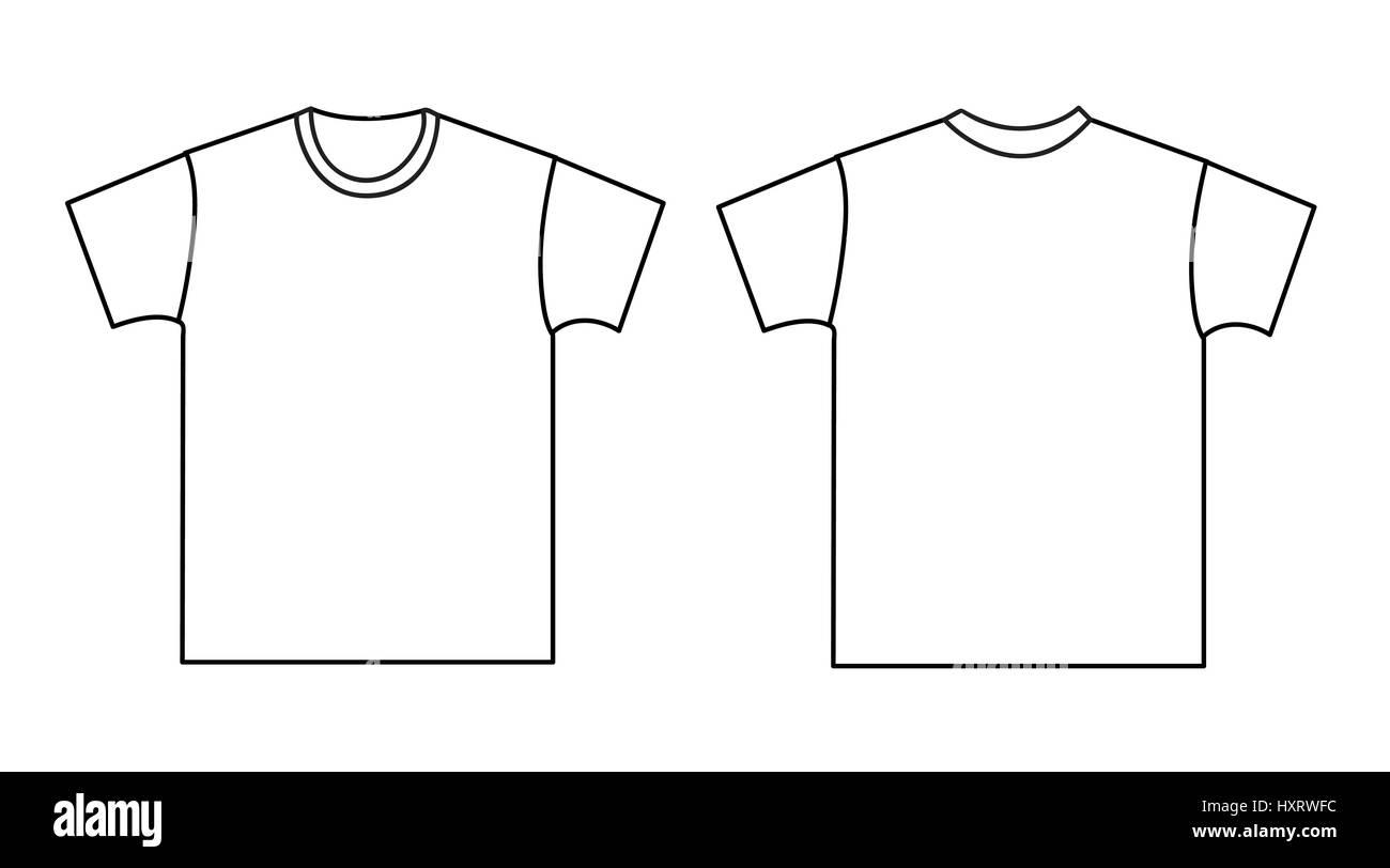 T-shirt-Vorlage leer. Vorder- und Rückseite Vektor Abbildung - Bild ...