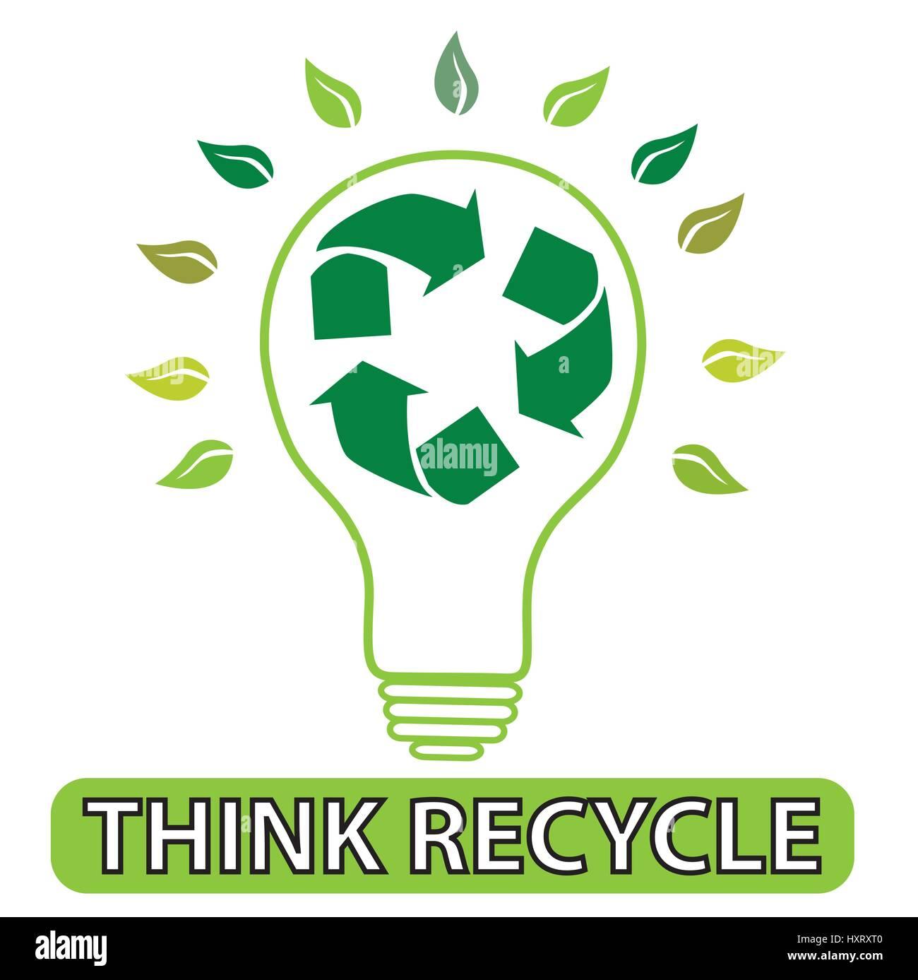 Illustration der Glühbirne mit Recycling-Symbol im Inneren mit ...