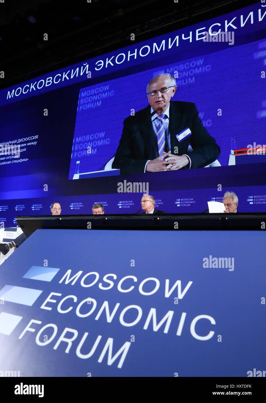 Moskau, Russland. 30. März 2017. Eine Plenumsdiskussion im Rahmen ...