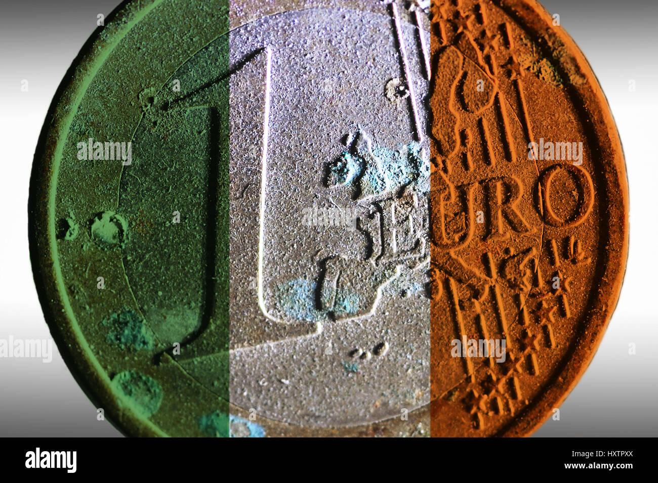 Alten Euro Münze Ein In Den Nationalfarben Von Irland Staatliche