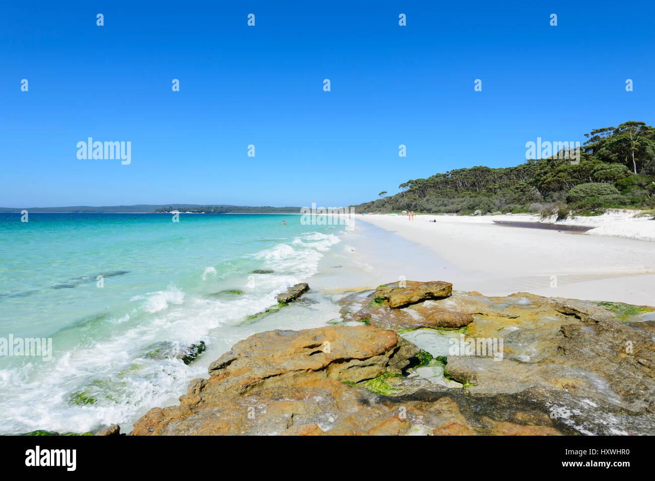 Hyams Beach ist eine spektakuläre Strecke von Jervis Bay mit feinem weißen Sand, New-South.Wales, NSW, Stockbild