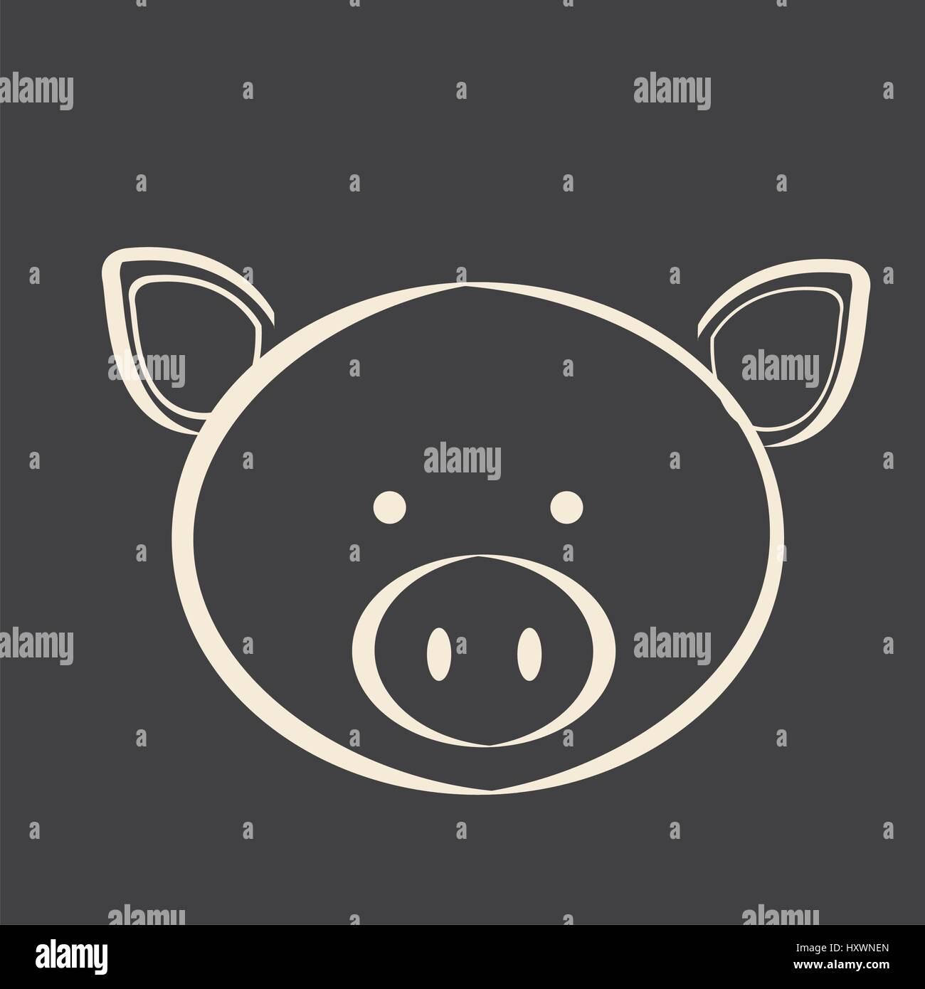 Schwarzes Quadrat Bild Schwein Tier Stockbild