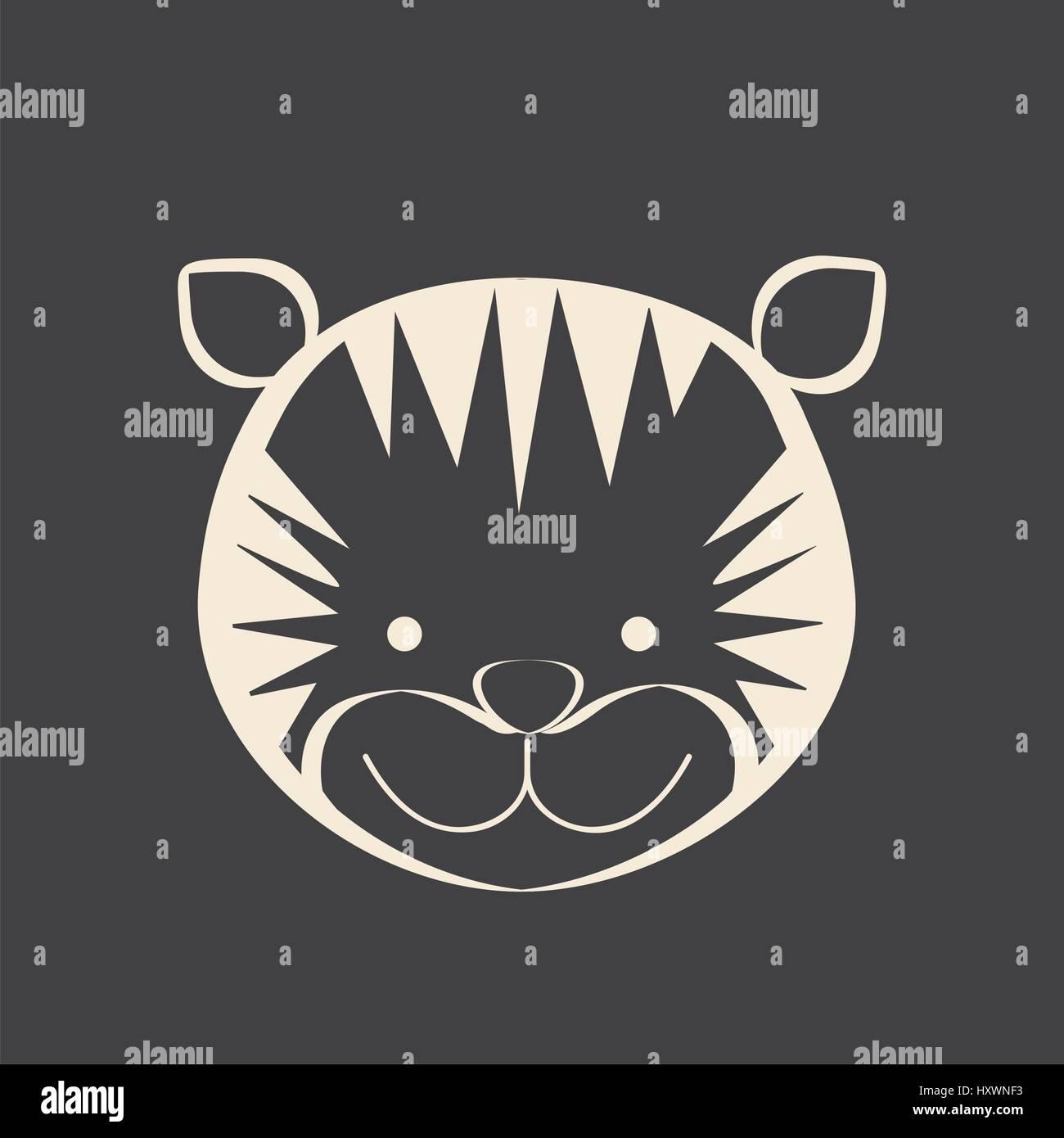 Schwarzes Quadrat Bild der Tiger Tiere Stockbild