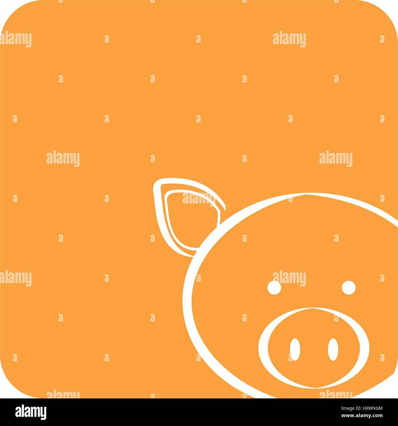 Orange quadratische Bild von Schwein Tier Stockbild