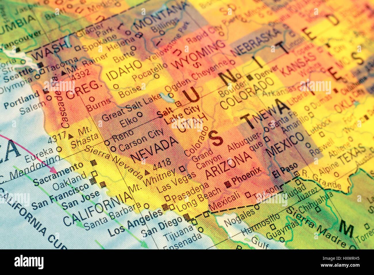 Karte Nord West Usa Nahaufnahme Makro Bild Karte Nord West