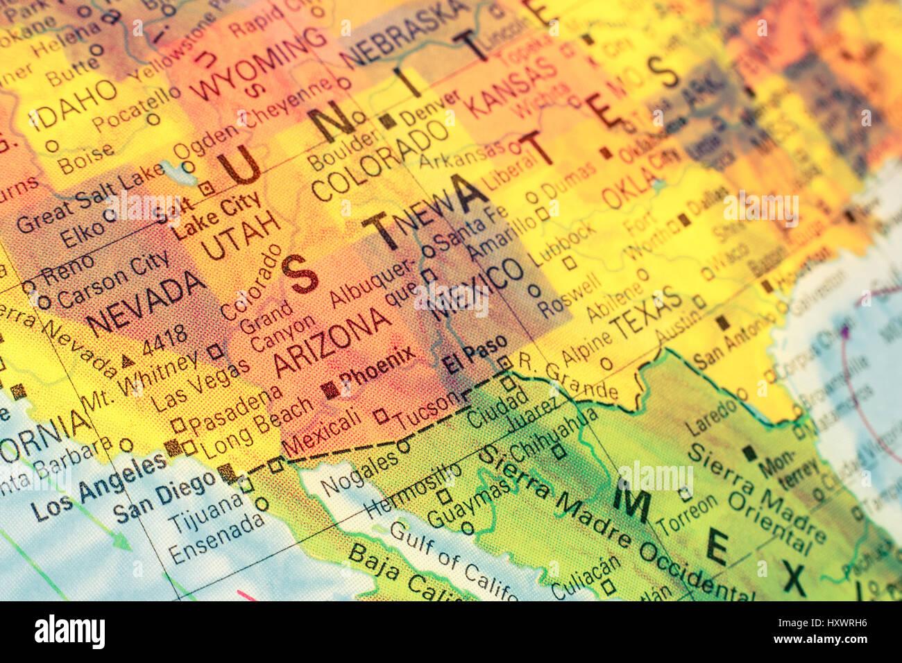 Karte Sud West Usa Nahaufnahme Makro Bild Karte Sudamerika West
