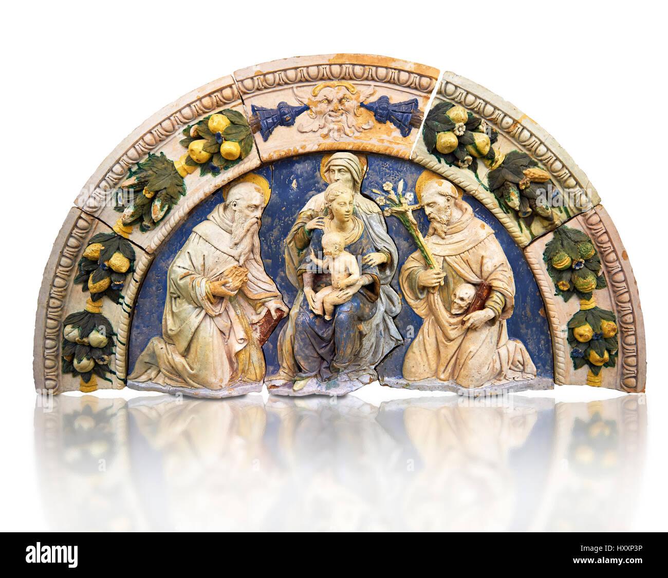 Emaillierte Terrakotta-Panel von Saint Anne, die Jungfrau Maria mit Kind, 16. Jahrhundert von Santi Bugloni von Stockbild