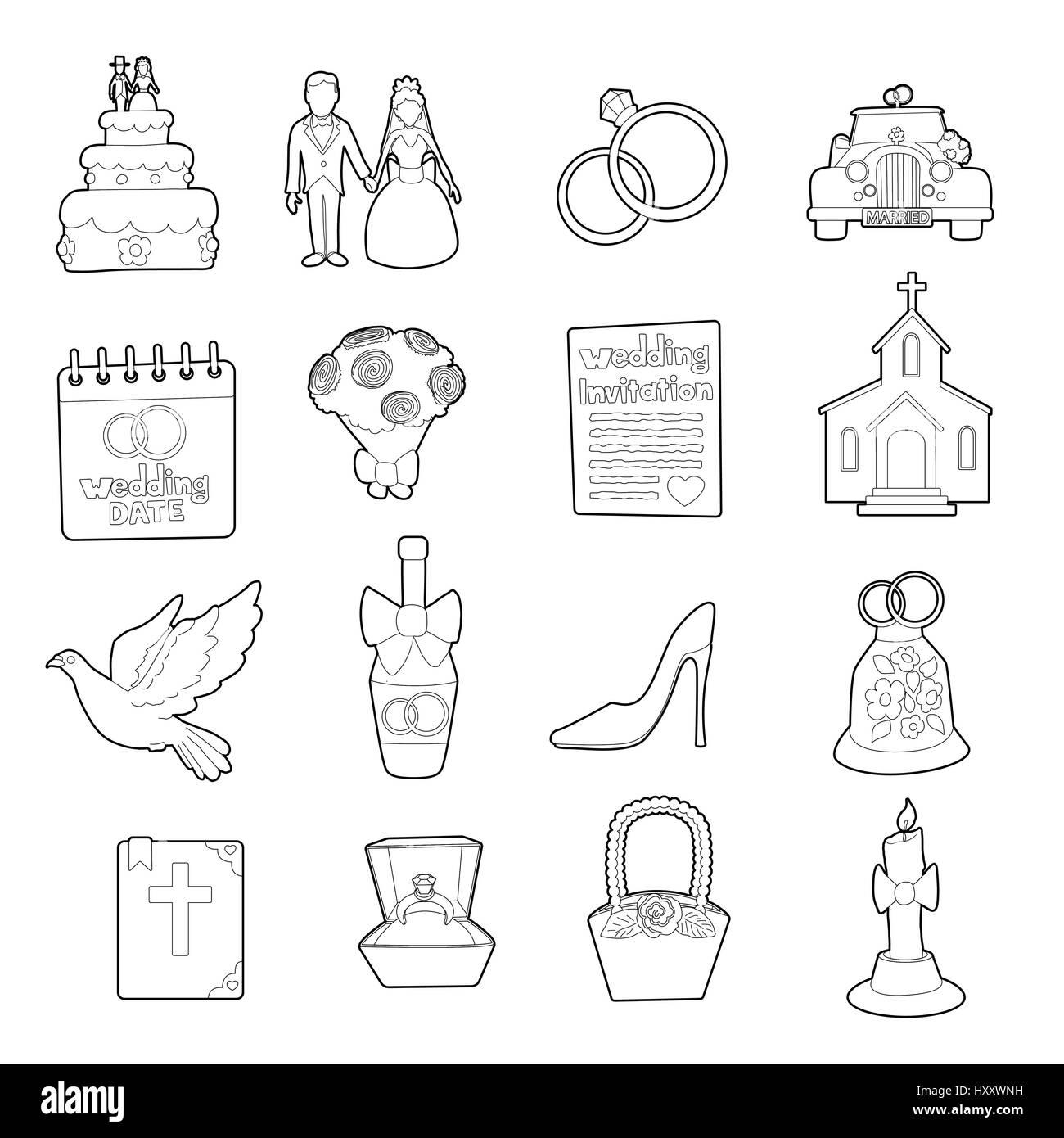 Hochzeit Symbole Aufforstungsprogramm Cartoonstil Festlegen Vektor