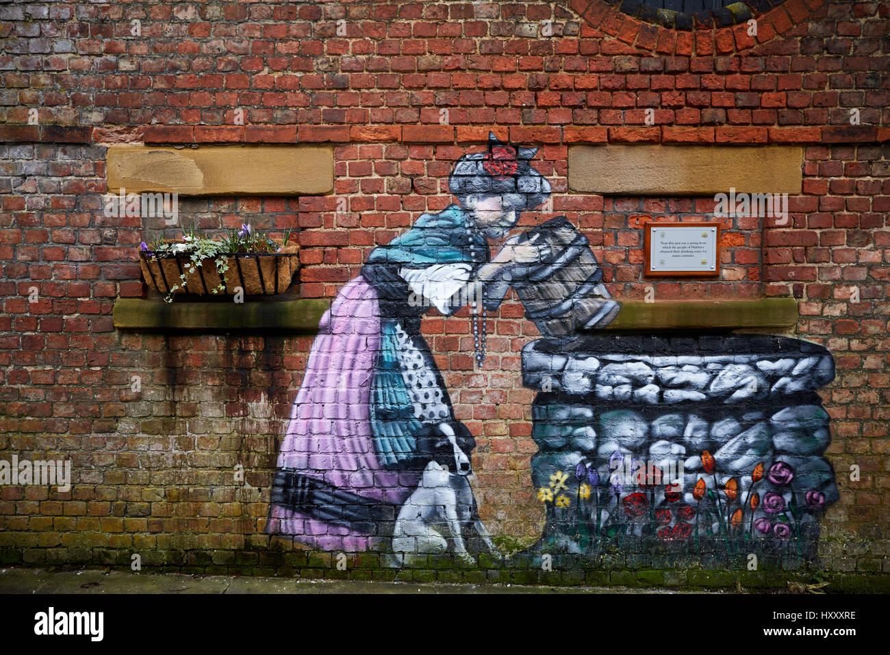 Graffiti-Kunst, strebe Wandgemälde, auf dem Gelände des Wasser gut Spa Stenner Lane im Didsbury, Manchester, Stockbild