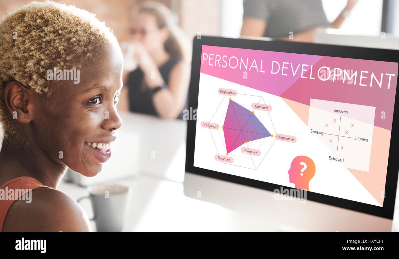 Entwicklung Persönlichkeit Verbesserung grafische Wort Symbol Stockbild