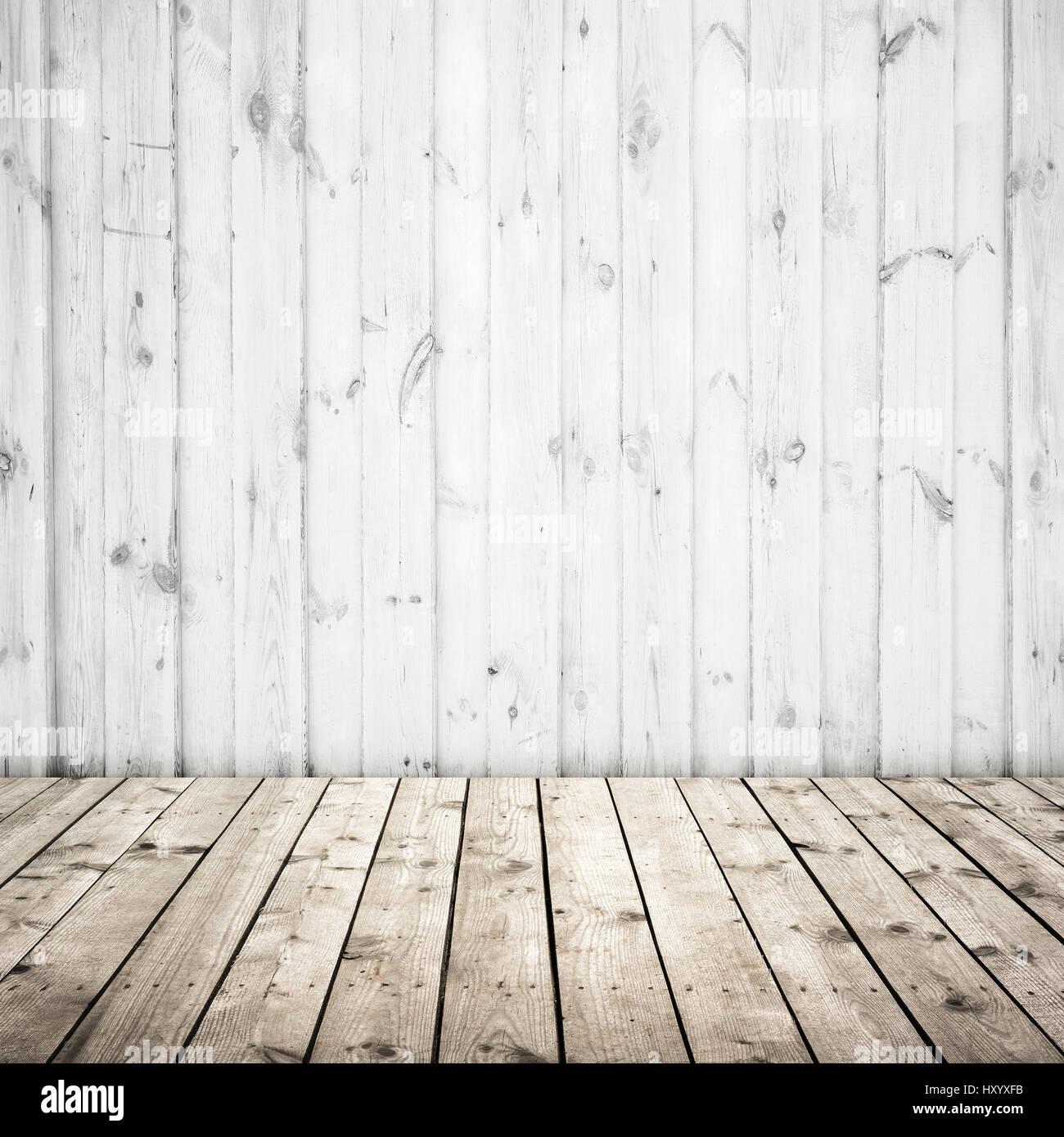 weiße wand und holzboden, abstrakte leeren quadratischen innenraum