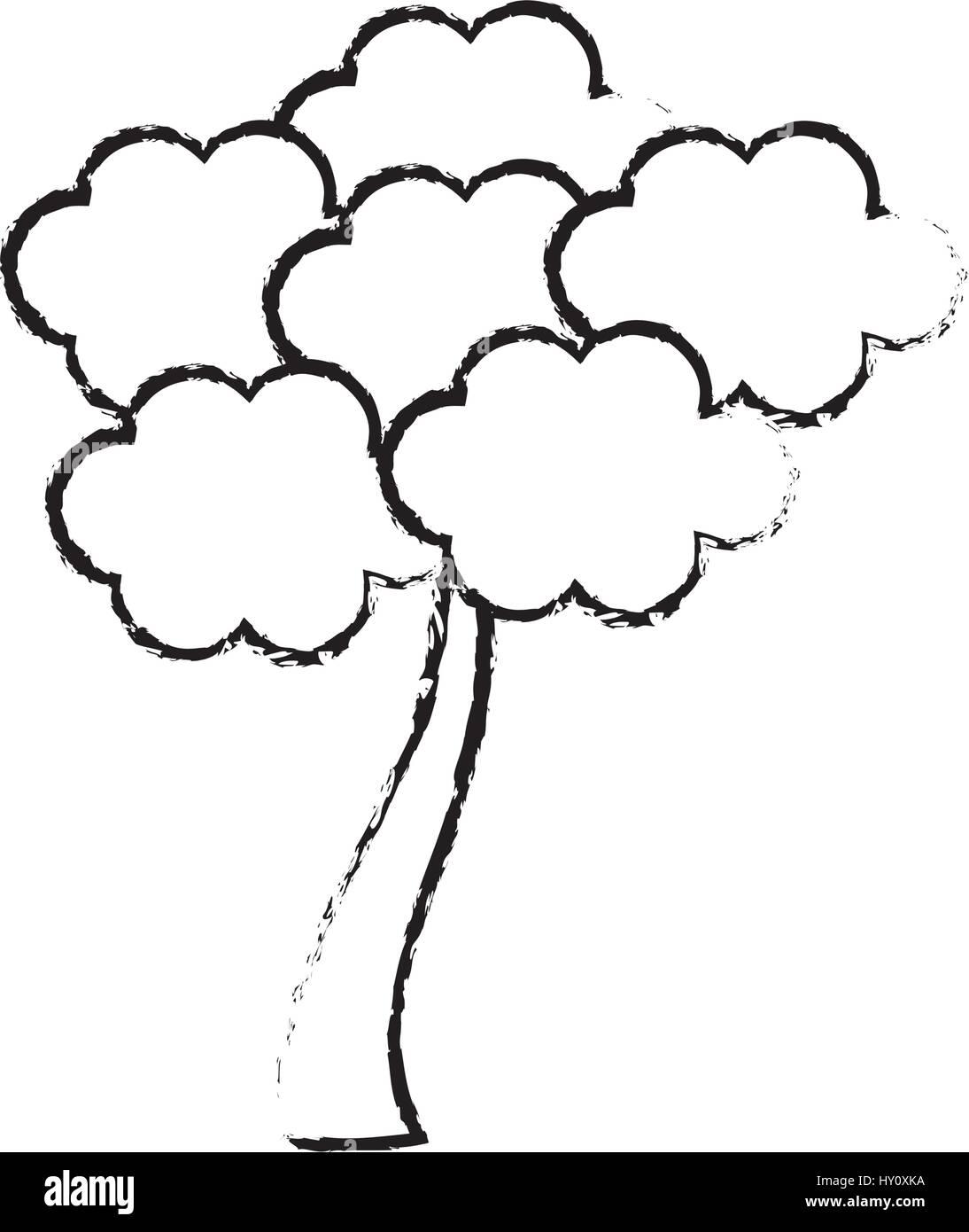 skizze baum sakura japanische flora vektor abbildung. Black Bedroom Furniture Sets. Home Design Ideas
