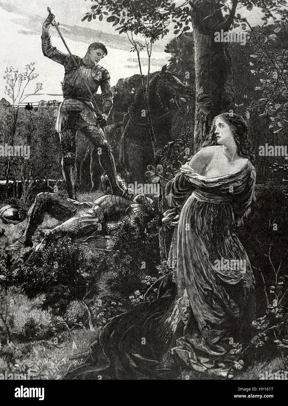 Ritterlichkeit. Kupferstich von R. Slvedersege nach einer Leinwand des britischen Malers Sir Francis Bernard Dicksee Stockbild