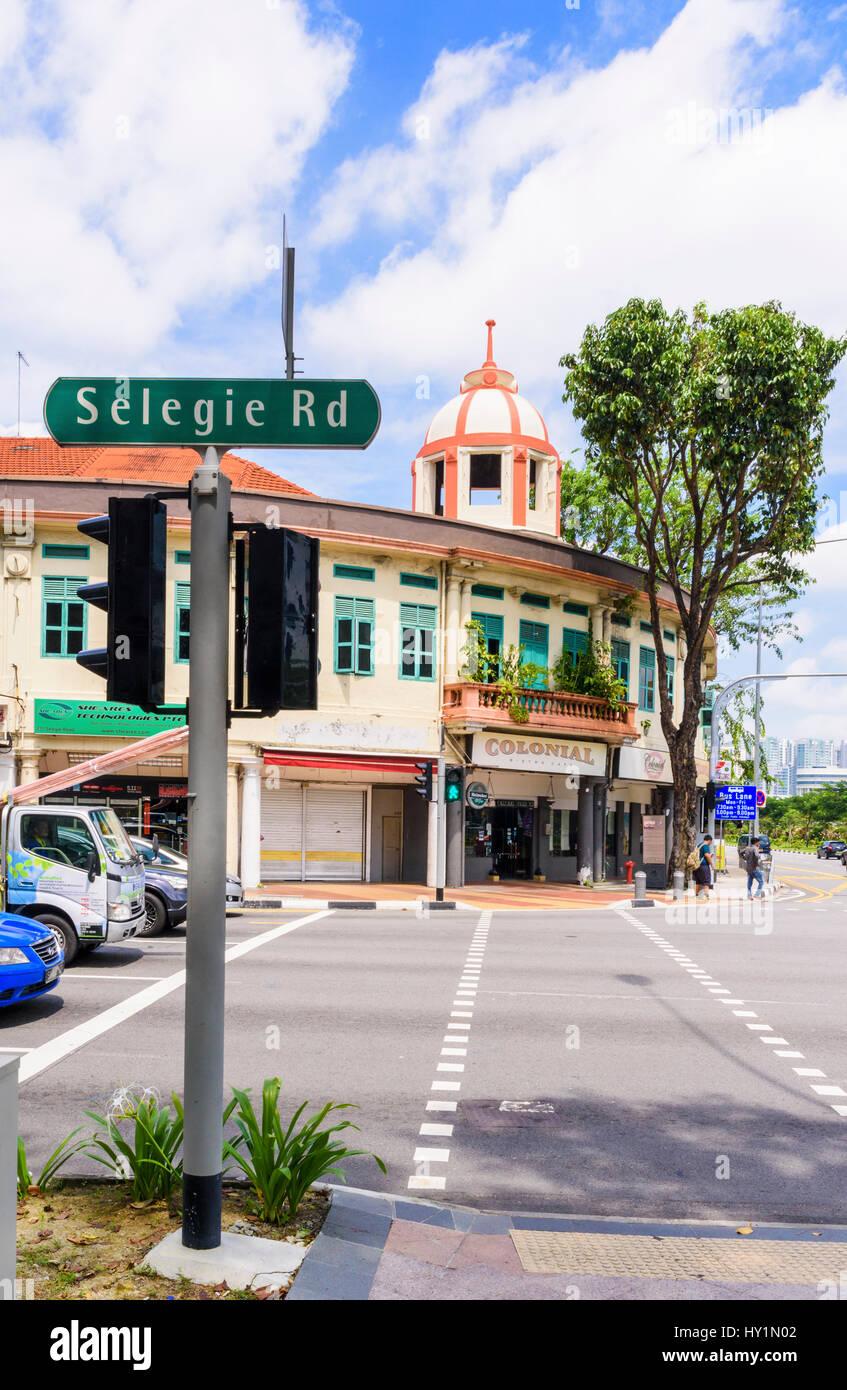 Das koloniale Wahrzeichen Ellison aufbauend auf Selegie Road, Singapur Stockbild