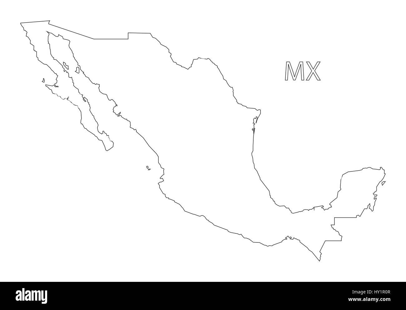 Mexiko Karte Umriss.Mexiko Umriss Silhouette Karte Abbildung Vektor Abbildung