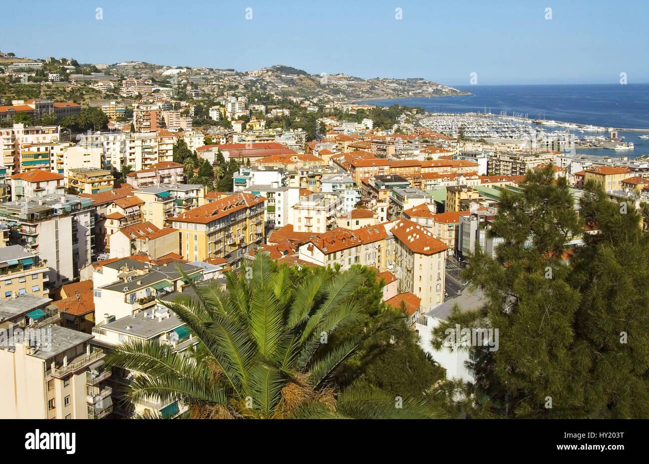 San Remo, Ein Bekanntes Reiseziel der Ligurischen Küste, Nordwestitalien. Stockbild