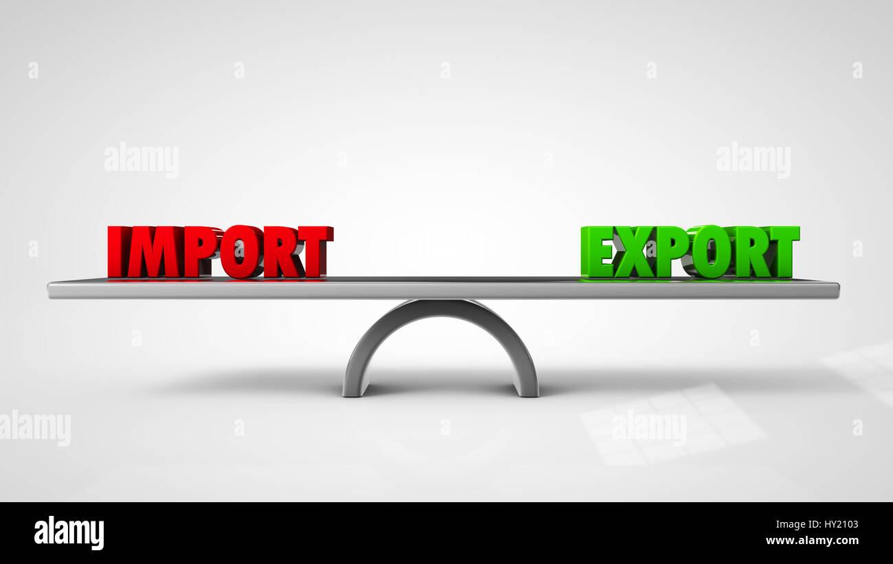 Import-Export-Balance-Konzept isoliert auf weißem 3d illustration Stockbild