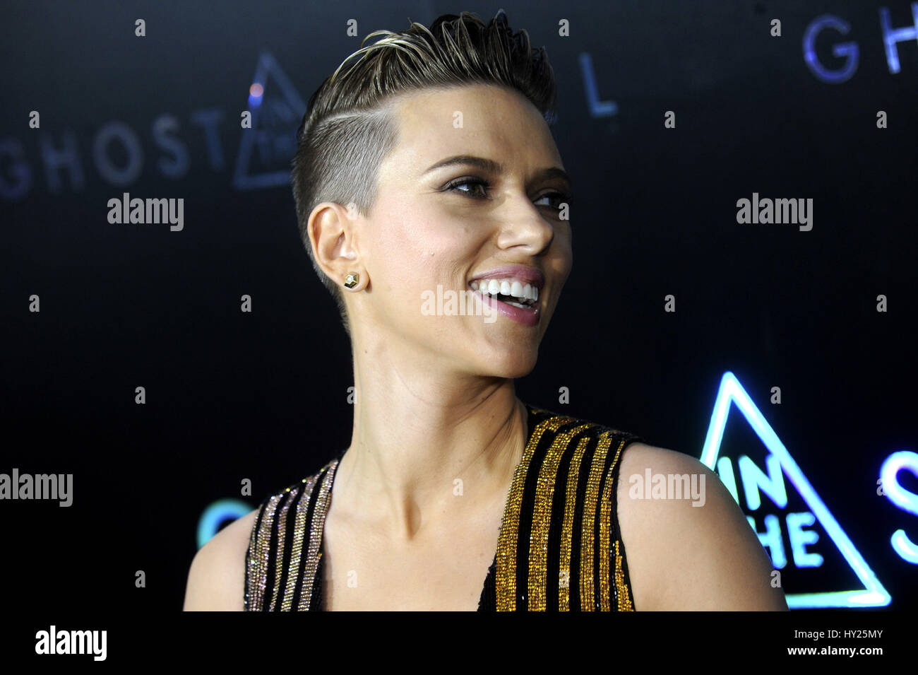 """New York City. 29. März 2017. Scarlett Johansson besucht die """"Ghost in the Shell""""-Premiere am AMC Stockbild"""