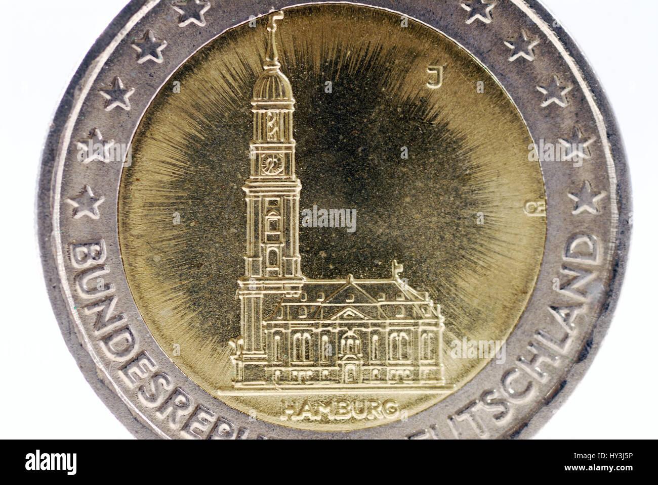 Der Hamburger Michel Auf Der Rückseite Eine Euro Münze Zwei Der