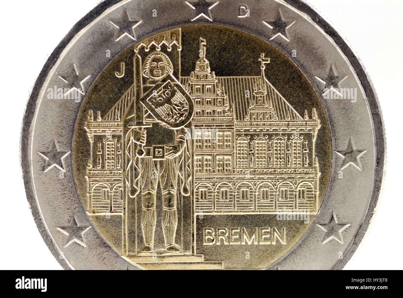 Stadt Bremen Auf Der Rückseite Eine Euro Münze Zwei Stadt Bremen