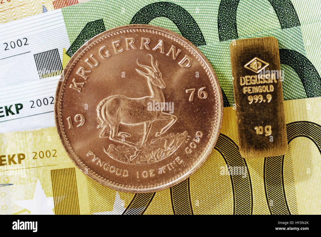 Krug Rand Münzen Und Goldbarren Auf Euro Noten Goldener Preis