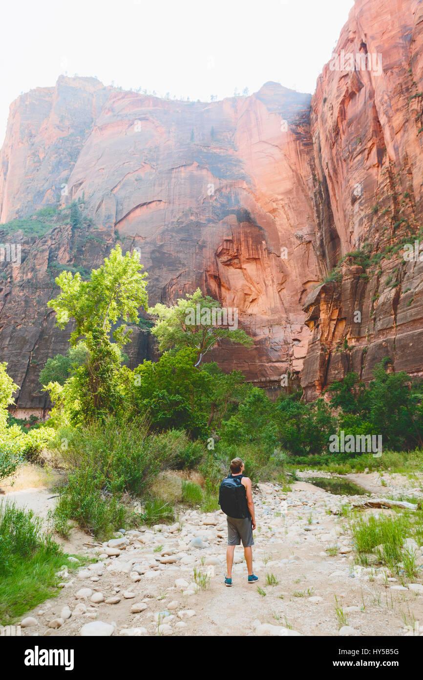 Usa, Utah, Mann, der durch die Felsen im Zion National Park Stockbild