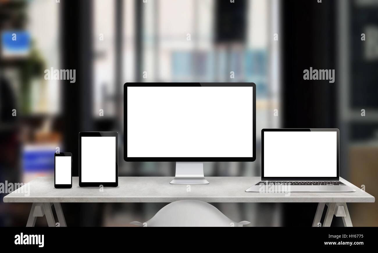 Mehrere Gerate Fur Responsive Web Site Promotion Computer Anzeigen