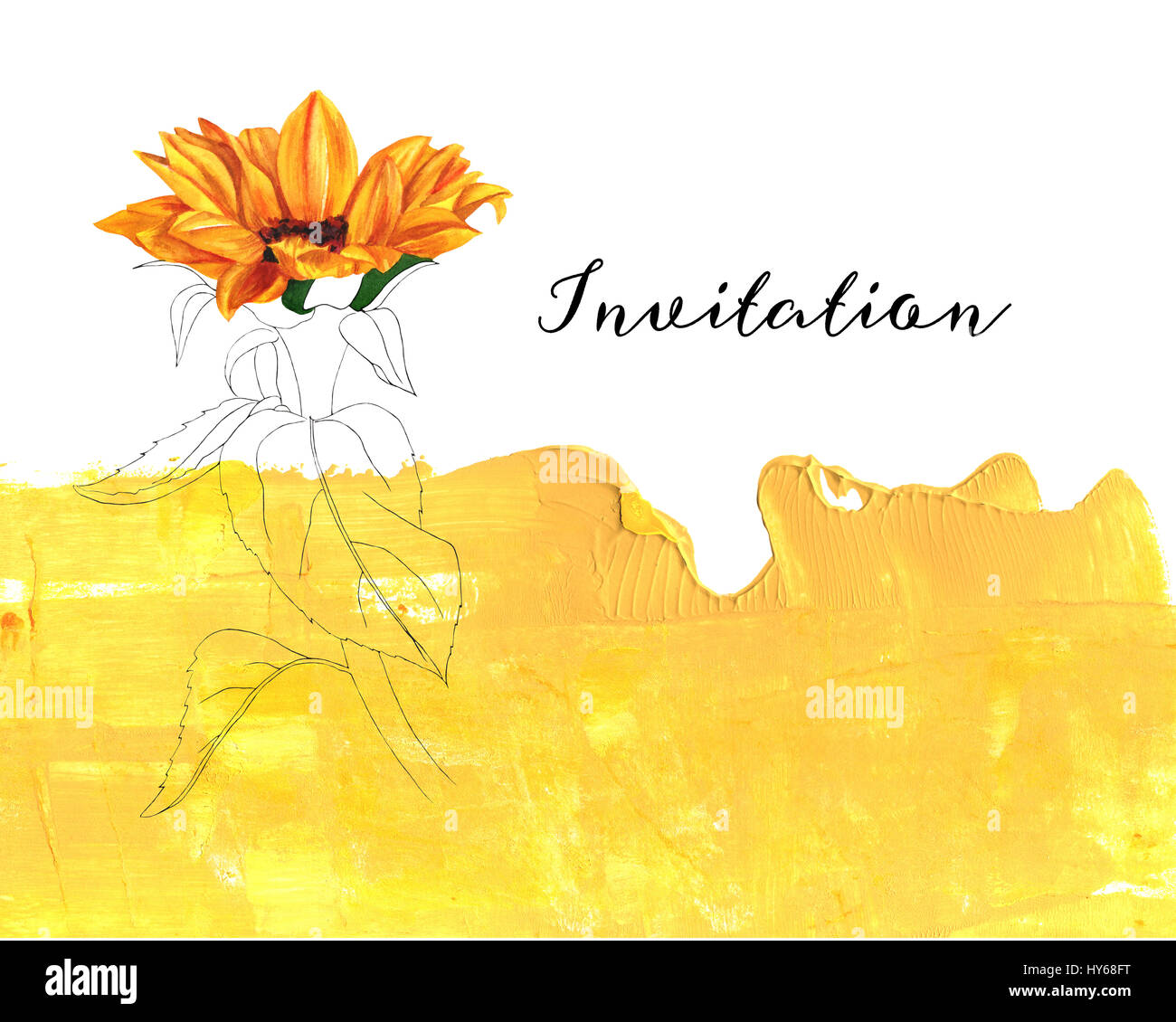 Einen Stift und Tinte und Aquarell Zeichnung einer Sonnenblume auf ...