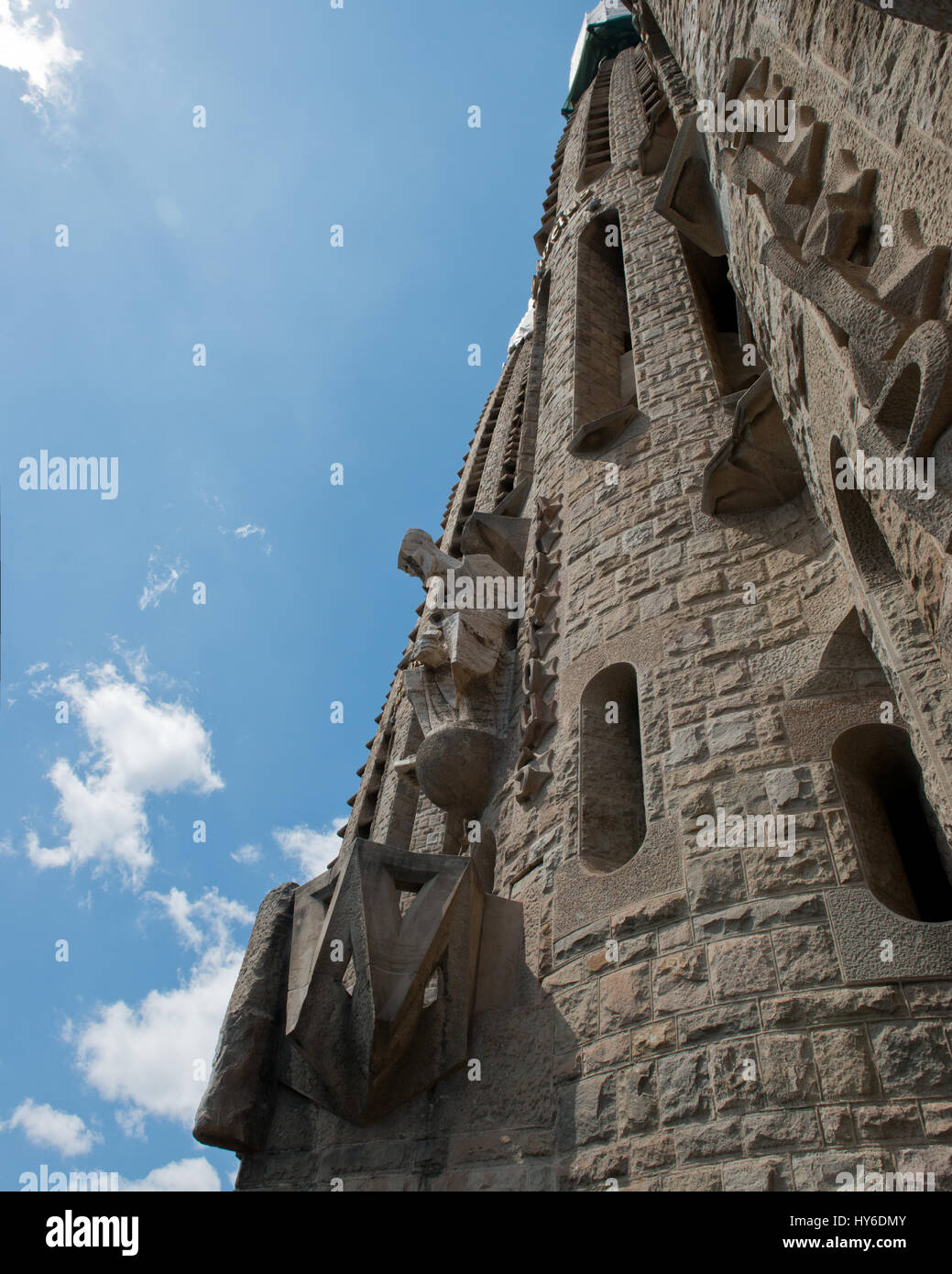Leidenschaft-Fassade der Sagrada Família Basilika von Antoni Gaudí, UNESCO-Weltkulturerbe, Barcelona, Stockbild