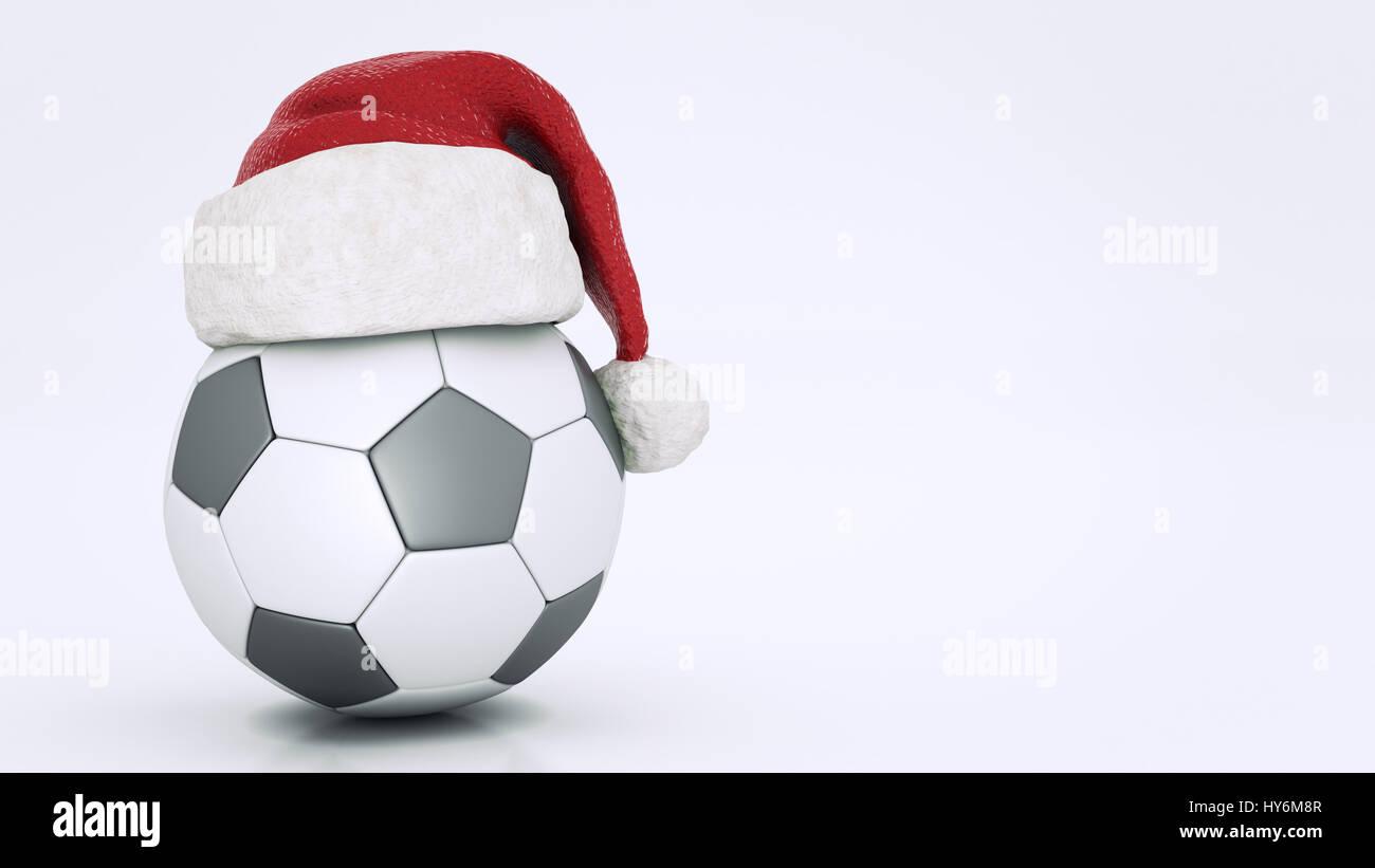 Weihnachten Konzept Fussball 3d Rendering Stockfoto Bild