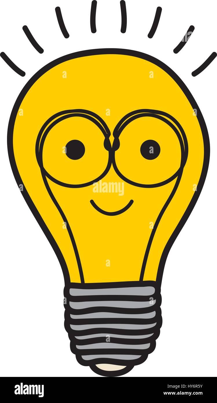 Hintergrundfarbe der Glühbirne mit Glühdraht in Comic-Form mit ...