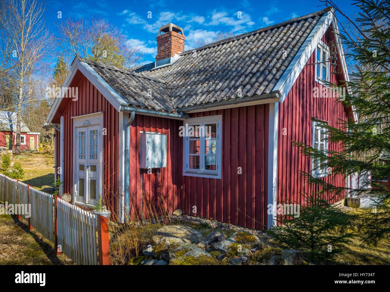 Ferienhaus in der südlichen Provinz Blekinge in Schweden, in der Nähe von Kyrkhult. Stockbild