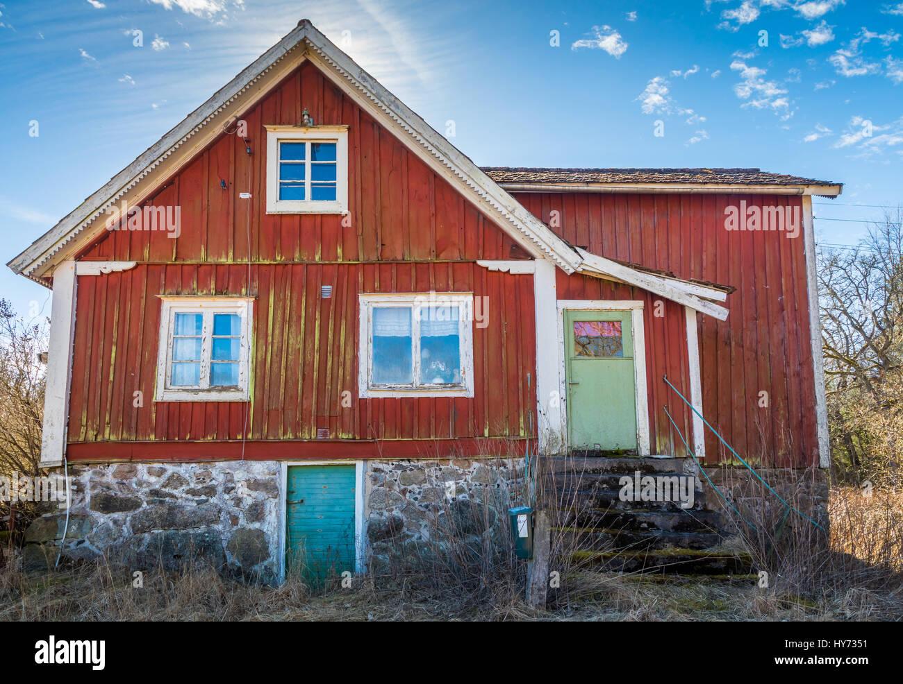 Haus am alten Bauernhof der südlichen Provinz Blekinge in Schweden, in der Nähe von Kyrkhult. Stockbild