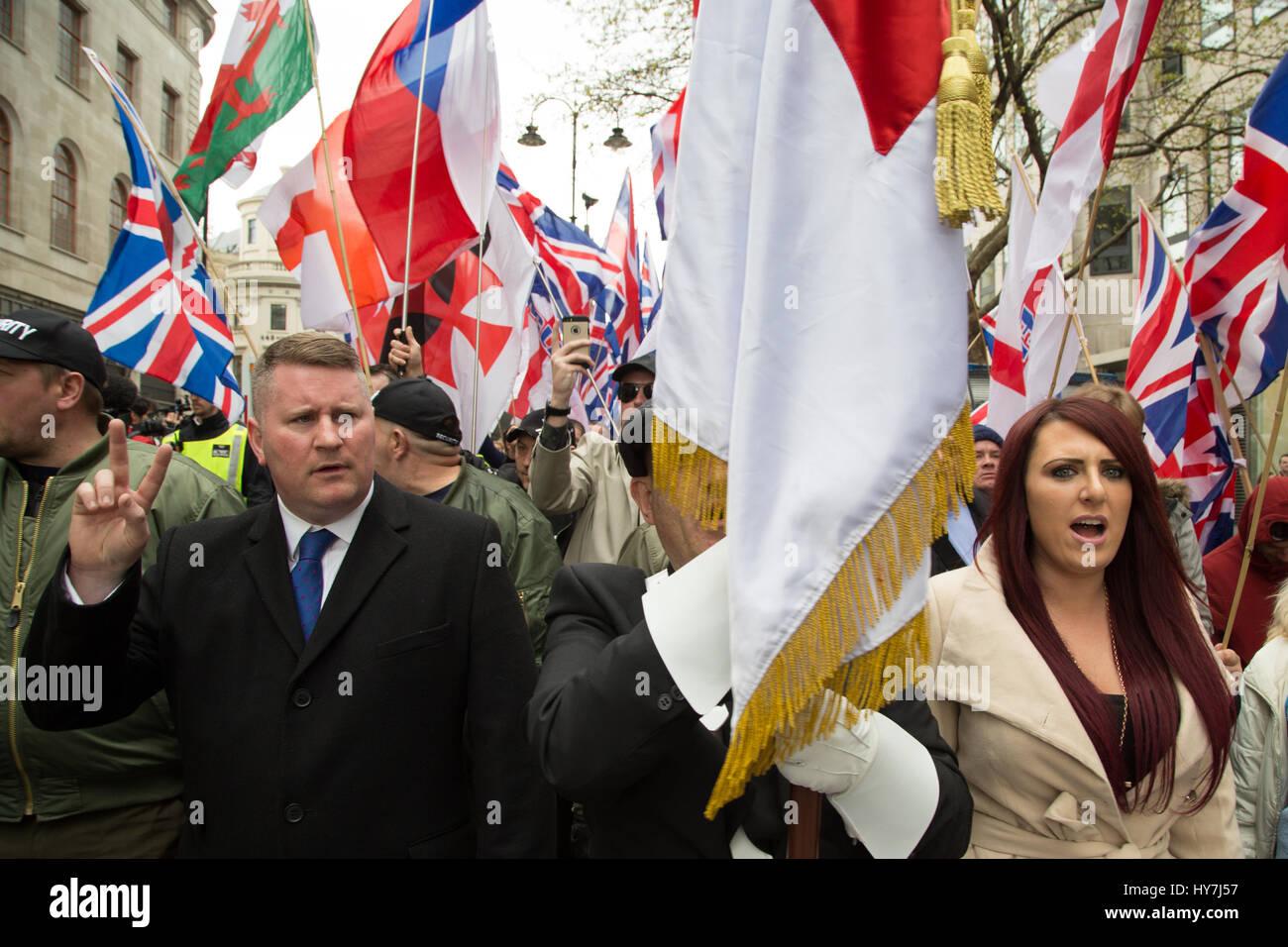 London, UK. 1. April 2017. Großbritanniens erste Führer Paul Golding (L) und Jayda Fransen während einer Protestaktion Stockfoto