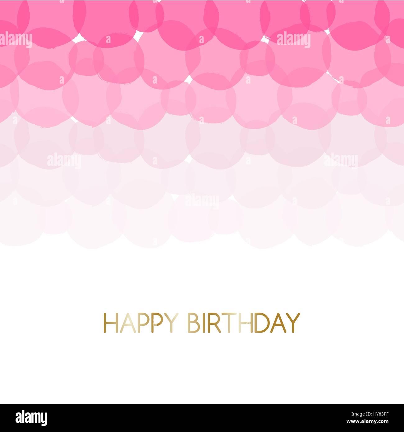 Geburtstag Grusskarte Gestalten Mit Text Happy Birthday In Gold Und Rosa Blaschen Im Hintergrund