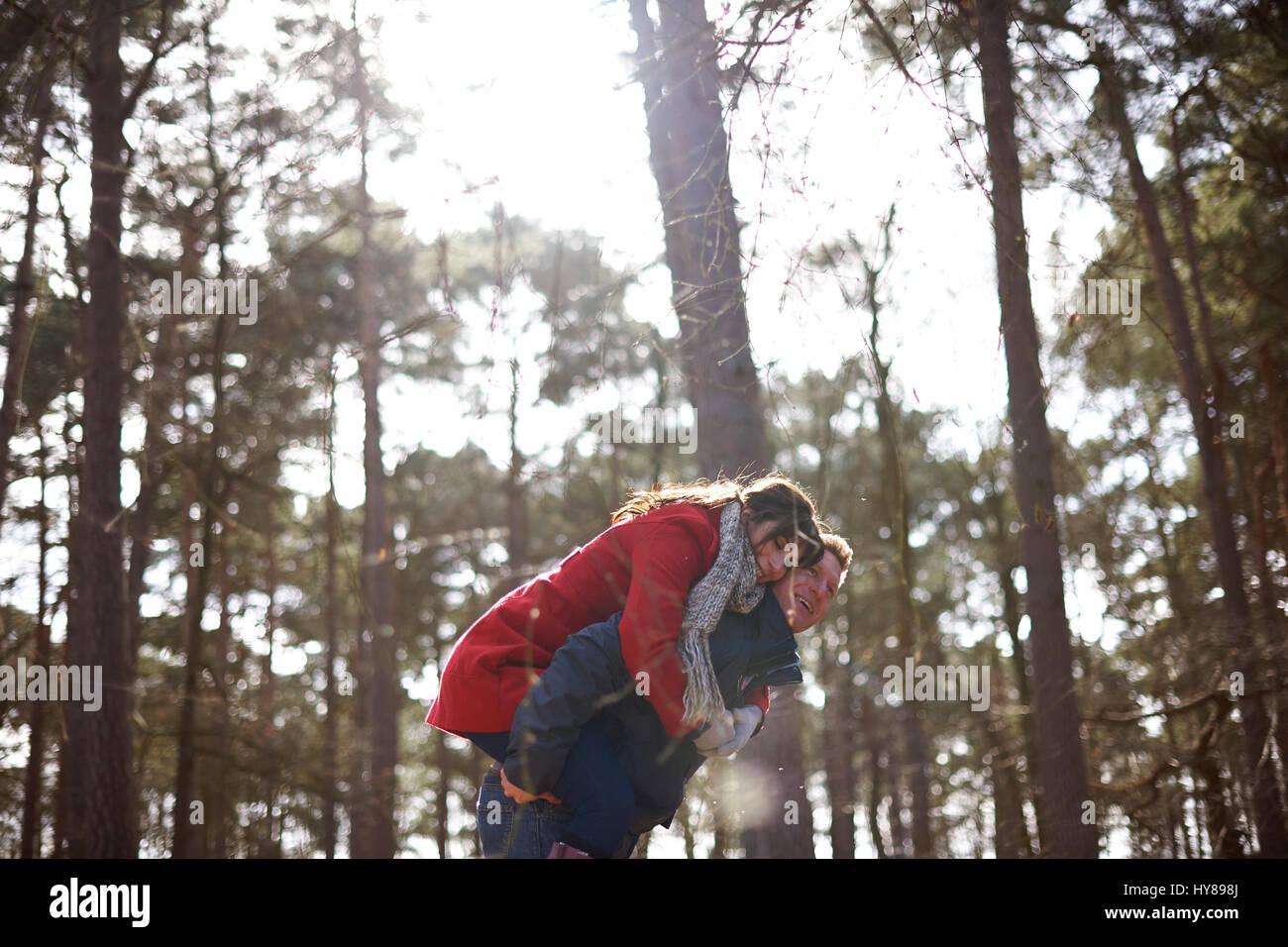 Ein Mann gibt seine weiblichen partner ein Schweinchen zurück auf einen Spaziergang im Wald Stockbild