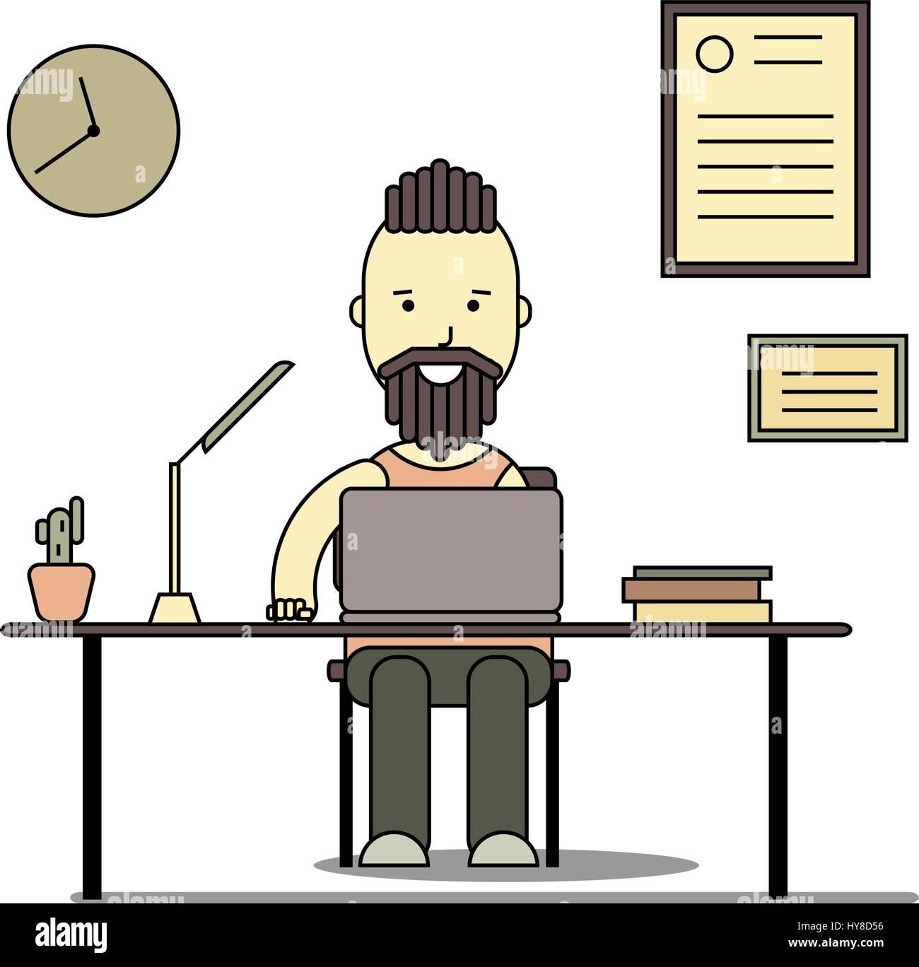 Programmer Cartoon Illustration Programmer Working Stockfotos