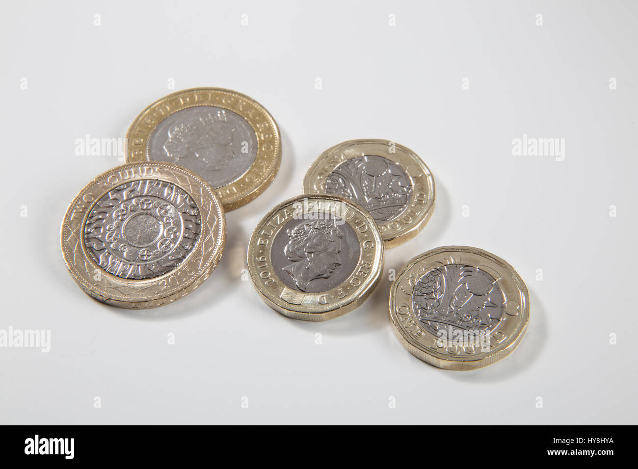 New Pound Coin 12 Sided Stockfotos New Pound Coin 12 Sided Bilder
