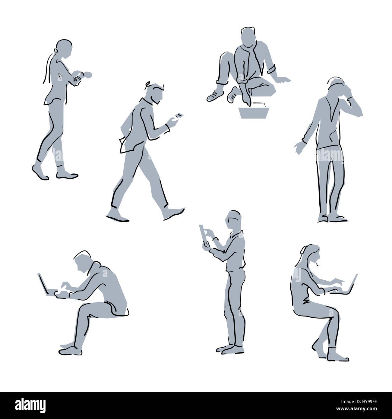 Menschen mit Gadgets. Einfache Skizze Linie Silhouetten. Menschen ...