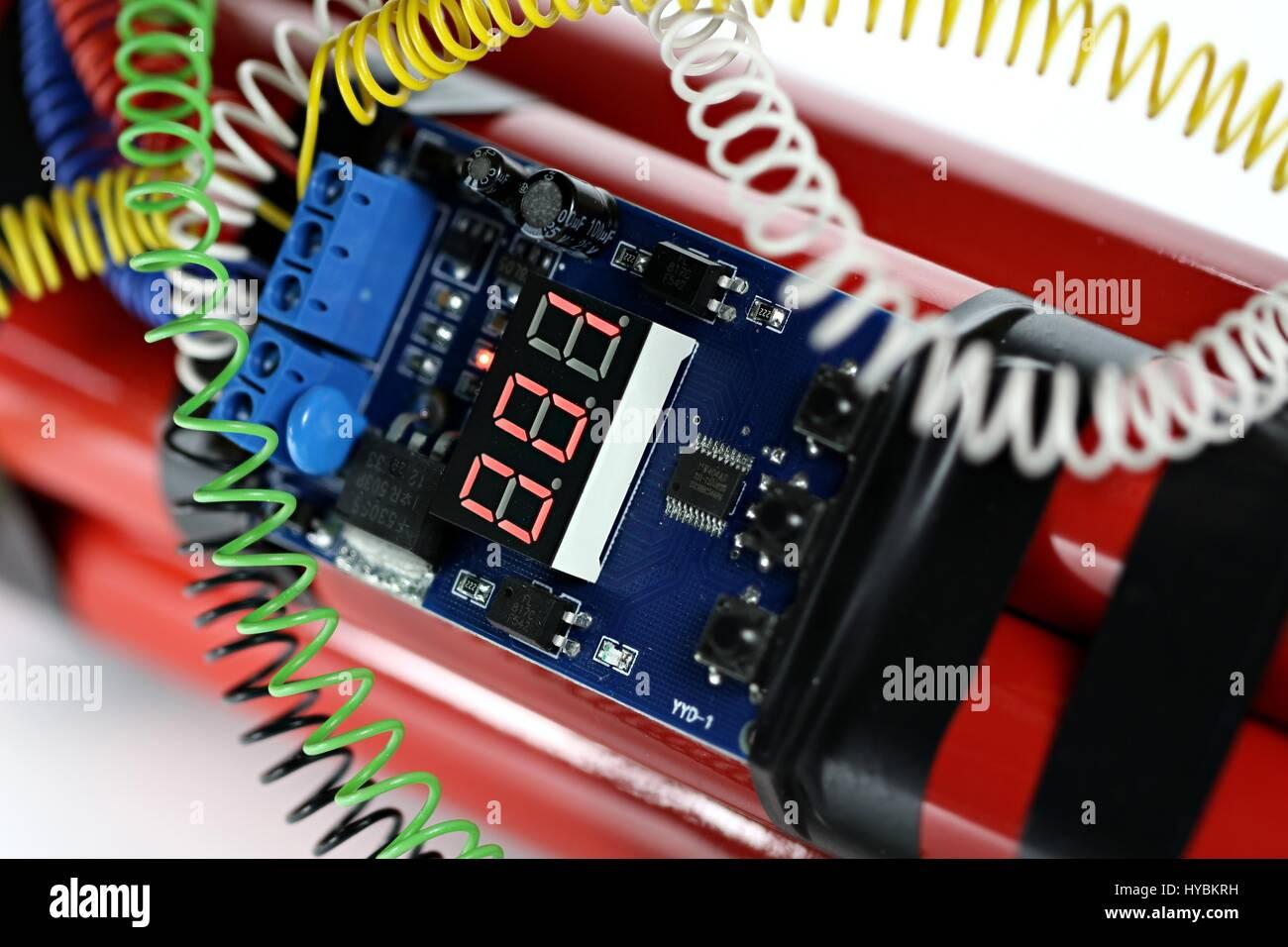 Digitalen Countdown Timer Einer Bombe Eine Sekunde Vor Der Explosion Amplifier