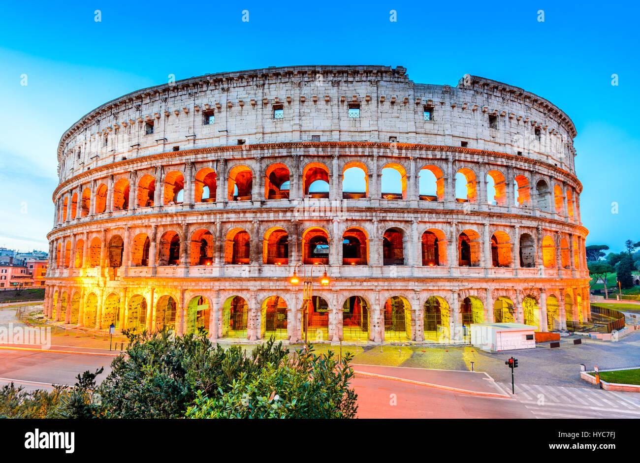 Rom, Italien. Kolosseum, Kolosseum oder Coloseo, Flavian Amphitheater größte jemals gebaut Symbol der Stockbild