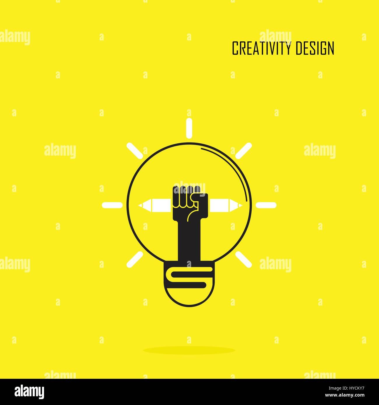 Kreative Lampe Licht Idee und Bleistift Handsymbol, flaches Design ...