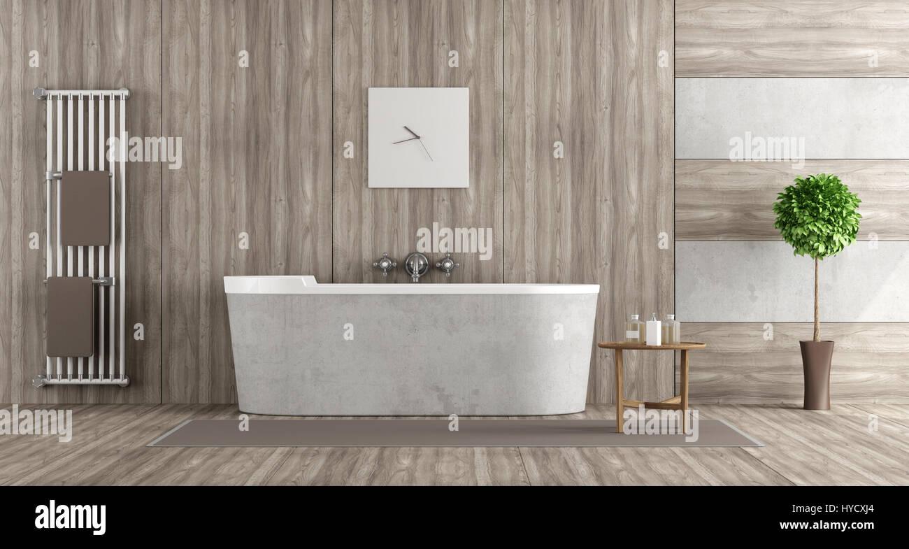 Bathroom Wooden Bathtub Rendering Stockfotos & Bathroom Wooden ...