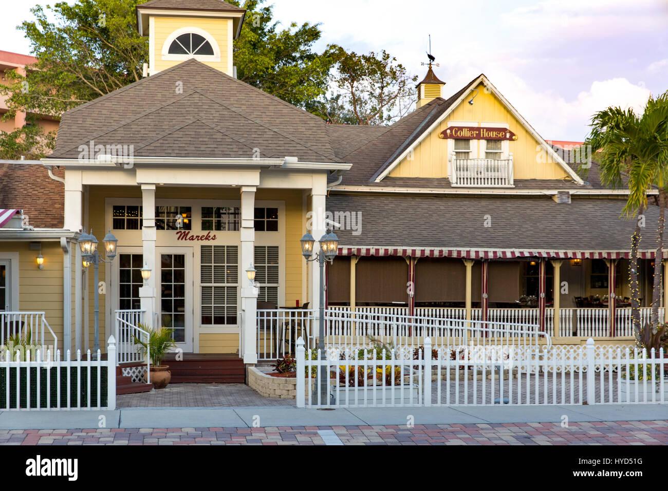 Captain William D. (Bill) Colliers Haus (b 1882) - jetzt Mareks Restaurants, Marco Island, Naples, Florida, USA Stockbild