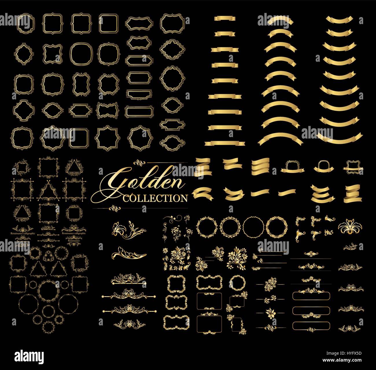 Grenzt und rahmt golden Collection, gold elegante dekorative ...
