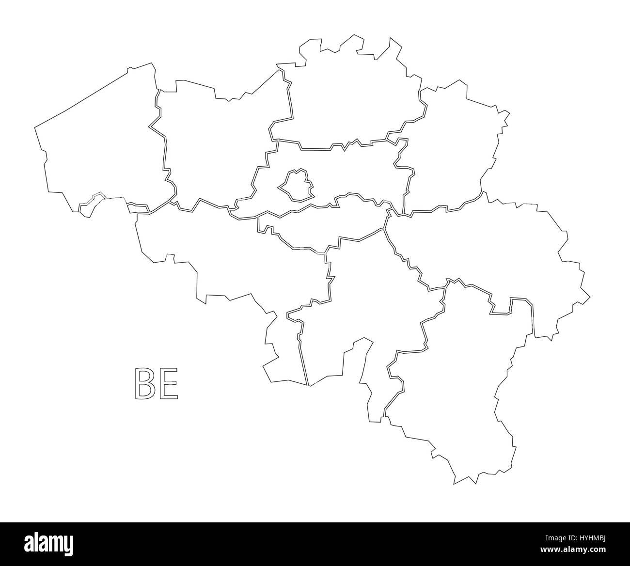 Belgien Karte Umriss.Belgien Umriss Silhouette Karte Abbildung Mit Regionen Vektor