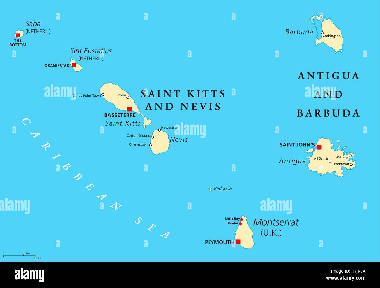 Island Montserrat Map Caribbean