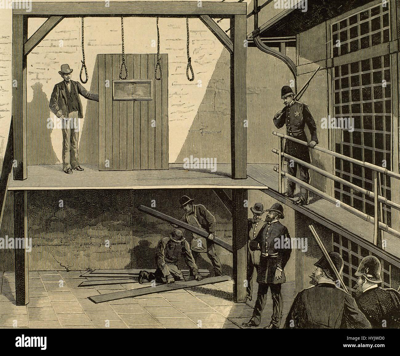 USA. des 19. Jahrhunderts. Vorbereitung der Hinrichtung durch den Strang der vier Chicago Anarchisten August Spies, Stockbild