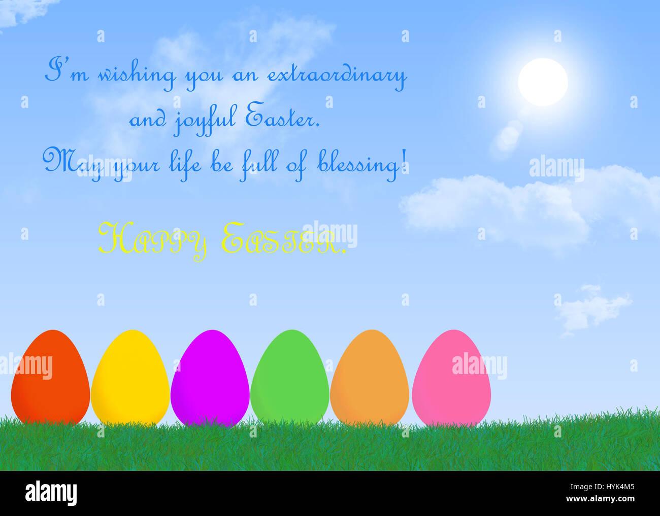 Ostern mit Eiern zitiert und herzliche Grüße mit sonnigen ...
